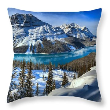 Peyto Lake Winter Panorama Throw Pillow by Adam Jewell