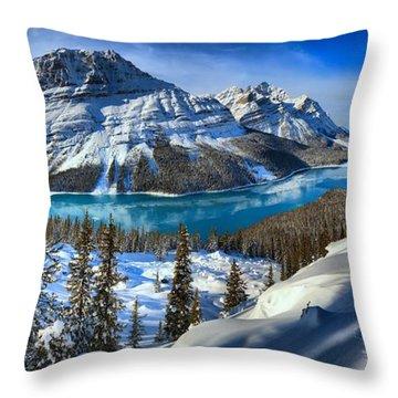 Peyto Lake Winter Panorama Throw Pillow