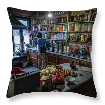 Throw Pillow featuring the photograph Phakding Teahouse Kitchen Morning by Mike Reid