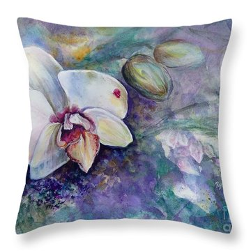 Phalaenopsis Orchid With Hyacinth Background Throw Pillow