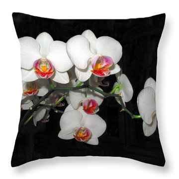 Phalaenopsis Orchids Throw Pillow by Joyce Dickens