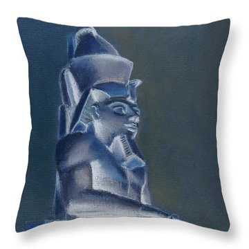 Throw Pillow featuring the mixed media Pharaoh In Blue by Elizabeth Lock