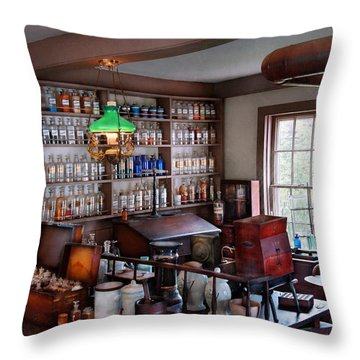 Pharmacist - Pharmacist From The 1880's  Throw Pillow by Mike Savad