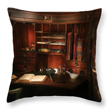 Pharmacist - The Pharmacists Desk Throw Pillow by Mike Savad