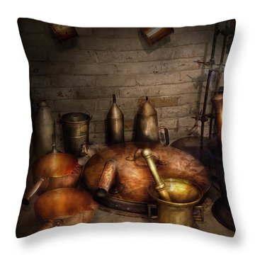 Pharmacy - Alchemist's Kitchen Throw Pillow by Mike Savad