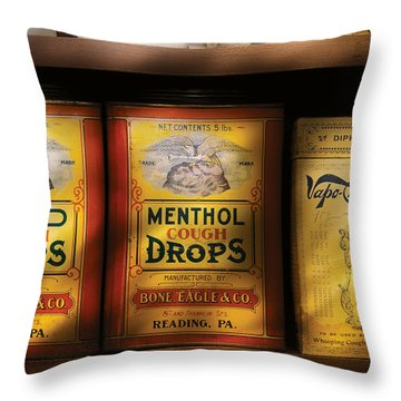 Pharmacy - Cough Drops Throw Pillow by Mike Savad