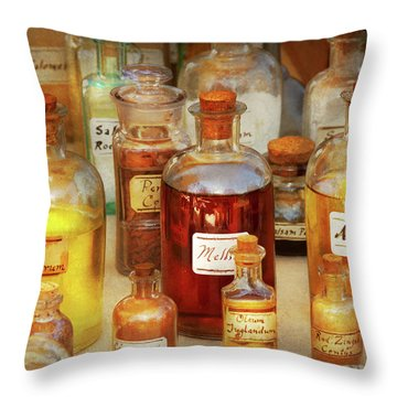 Pharmacy - Serums And Elixirs Throw Pillow by Mike Savad