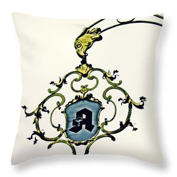 Pharmacy Sign In Wiesbaden      Throw Pillow by Sarah Loft