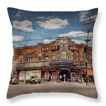 Throw Pillow featuring the photograph Pharmacy - The Corner Drugstore 1910 by Mike Savad