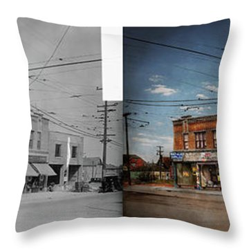 Throw Pillow featuring the photograph Pharmacy - The Corner Drugstore 1910 - Side By Side by Mike Savad