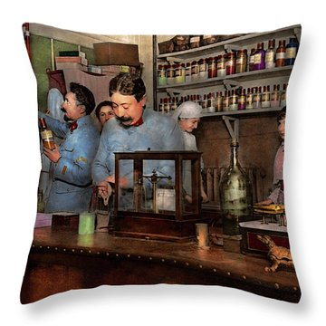 Throw Pillow featuring the photograph Pharmacy - The Dispensing Chemist 1918 by Mike Savad