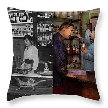 Throw Pillow featuring the photograph Pharmacy - The Dispensing Chemist 1918 - Side By Side by Mike Savad