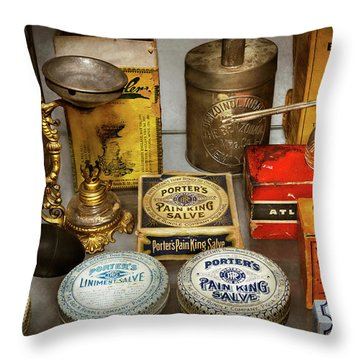 Throw Pillow featuring the photograph Pharmacy - The Pain King by Mike Savad