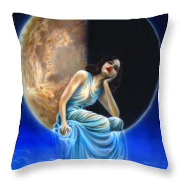 Phases Of The Moon, Third Quarter Throw Pillow by Wayne Pruse