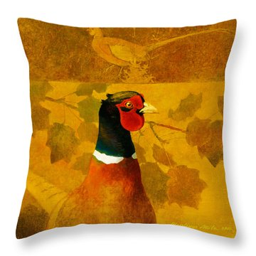 Pheasant In Yellow Throw Pillow