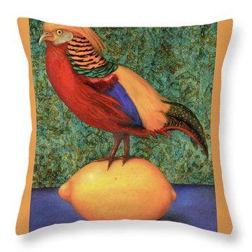 Throw Pillow featuring the painting Pheasant On A Lemon by Leah Saulnier The Painting Maniac