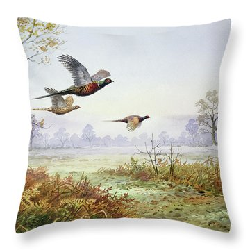 Pheasants In Flight  Throw Pillow by Carl Donner