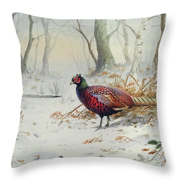 Pheasants In Snow Throw Pillow by Carl Donner