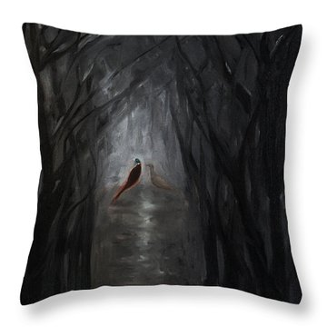 Throw Pillow featuring the painting Pheasants In The Garden by Tone Aanderaa