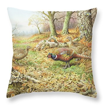 Pheasants With Blue Tits Throw Pillow by Carl Donner