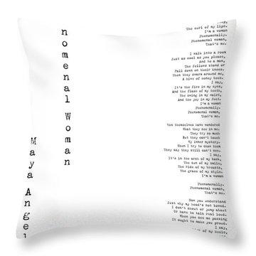 Phenomenal Woman By Maya Angelou - Feminism Poetry Throw Pillow