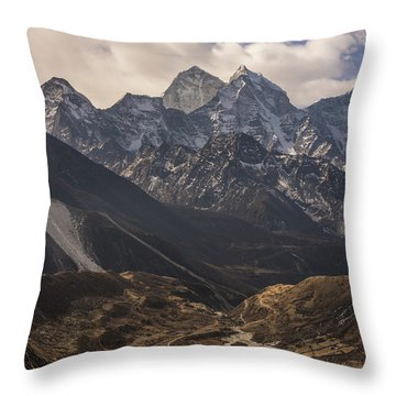 Throw Pillow featuring the photograph Pheriche In The Valley by Mike Reid