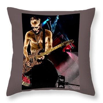 Phil Collen Of Def Leppard 3 Throw Pillow by David Patterson