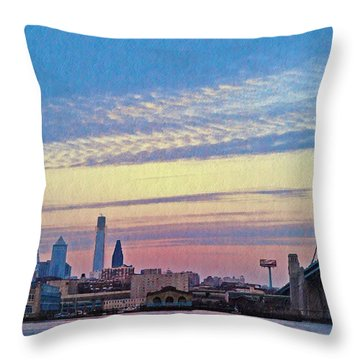 Philadelphia At Dawn Throw Pillow by Bill Cannon