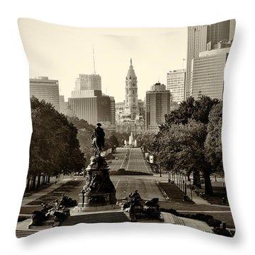 Philadelphia Benjamin Franklin Parkway In Sepia Throw Pillow