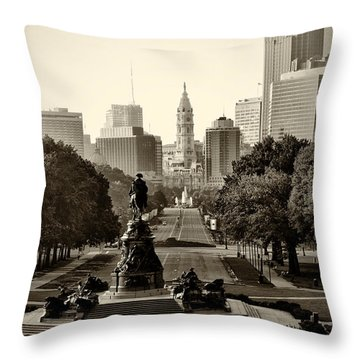 Philadelphia Benjamin Franklin Parkway In Sepia Throw Pillow