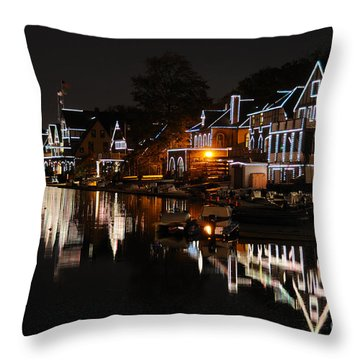 Philadelphia Boathouse Row At Night Throw Pillow