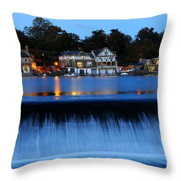 Philadelphia Boathouse Row At Twilight Throw Pillow