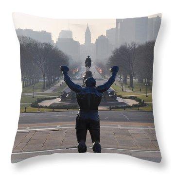 Philadelphia Champion - Rocky Throw Pillow by Bill Cannon