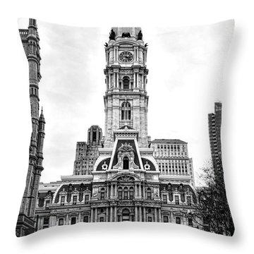 Philadelphia City Hall Building On Broad Street Throw Pillow