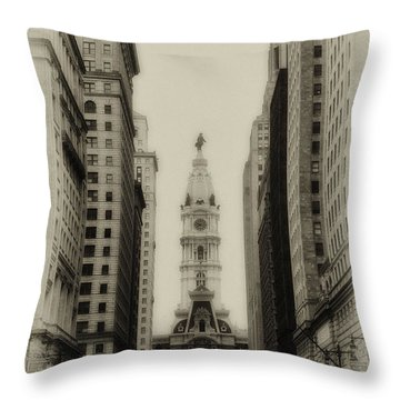 Philadelphia City Hall From South Broad Street Throw Pillow by Bill Cannon