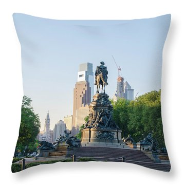 Throw Pillow featuring the photograph Philadelphia Cityscape From Eakins Oval by Bill Cannon
