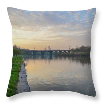 Throw Pillow featuring the photograph Philadelphia Cityscape From The Schuylkill In The Morning by Bill Cannon