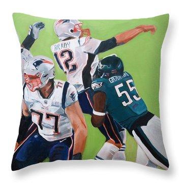 Philadelphia Eagles Strip-sack Of Tom Brady In Super Bowl Lii  Throw Pillow