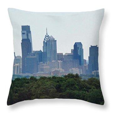 Philadelphia Green Skyline Throw Pillow by Ian  MacDonald