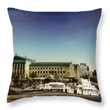 Philadelphia Museum Of Art And The Fairmount Waterworks From West River Drive Throw Pillow by Bill Cannon