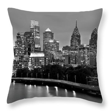 Throw Pillow featuring the photograph Philadelphia Philly Skyline At Dusk From Near South Bw Black And White Panorama by Jon Holiday