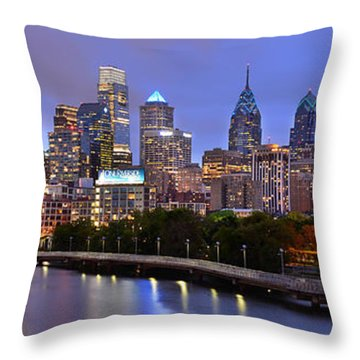 Throw Pillow featuring the photograph Philadelphia Philly Skyline At Dusk From Near South Color Panorama by Jon Holiday