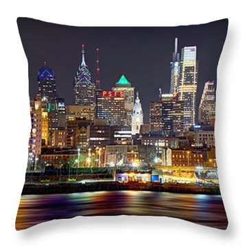 Philadelphia Philly Skyline At Night From East Color Throw Pillow