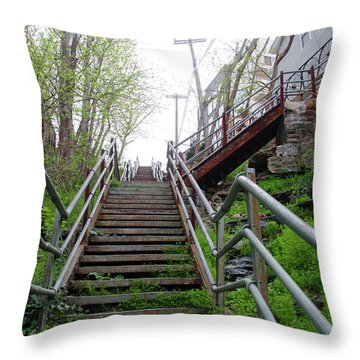 Throw Pillow featuring the photograph Philadelphia - Roxborough Avenue Steps by Bill Cannon