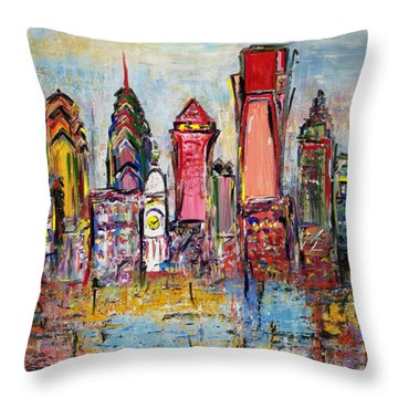 Philadelphia Skyline 232 1 Throw Pillow by Mawra Tahreem