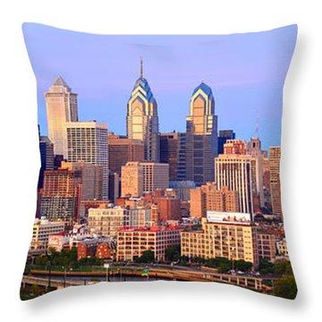 Philadelphia Skyline At Dusk Sunset Pano Throw Pillow by Jon Holiday