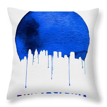 Philadelphia Skyline Blue Throw Pillow by Naxart Studio