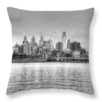 Philadelphia Skyline In Black And White Throw Pillow by Jennifer Ancker