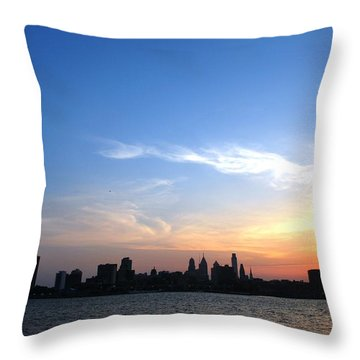 Philadelphia Skyline Low Horizon Sunset Throw Pillow