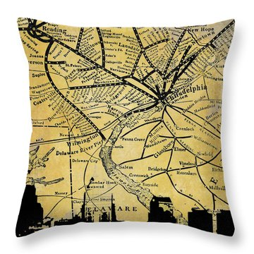 Philadelphia Skyline Map Throw Pillow